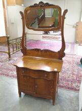 OAK WASHSTAND COMMODE WITH TILT MIRROR, American,