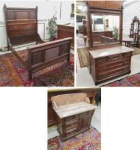 THREE-PIECE VICTORIAN MAHOGANY BEDROOM FURNITURE S