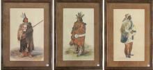 THREE NATIVE AMERICAN PORTRAITS, GOUACHES ON PAPER