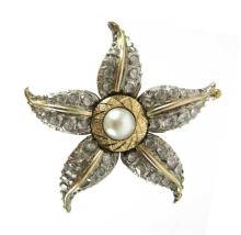 PEARL AND WHITE SAPPHIRE BROOCH, 14k yellow and  w