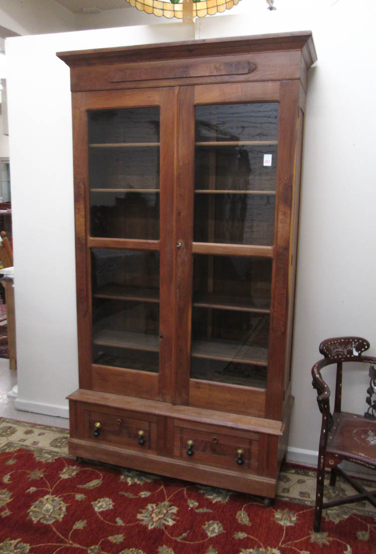 Victorian walnut cabinet bookcase on base america for Bookcase with cabinet base plans
