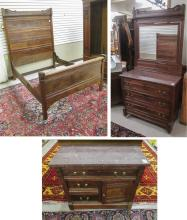 THREE-PIECE VICTORIAN WALNUT BEDROOM FURNITURE SET