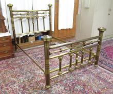 LATE VICTORIAN BRASS BED WITH RAILS, American, c.