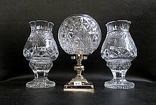 THREE WATERFORD CUT CRYSTAL HURRICANE LAMPS: