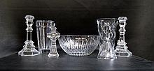NINE PIECES CRYSTAL, some with maker's marks: pair