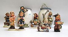 HUMMEL WALL VASES AND FIGURINES, nine pieces, soft