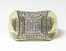 DIAMOND AND FOURTEEN KARAT GOLD RING, set with 85