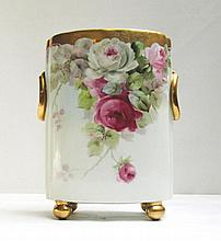 LIMOGES HAND PAINTED VASE having an oval shaped