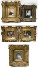 FIVE MINIATURE PAINTINGS IN GOLD FRAMES Continenta