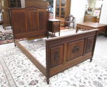 LOUIS XVI STYLE OAK BED AND NIGHTSTAND SET, Contin