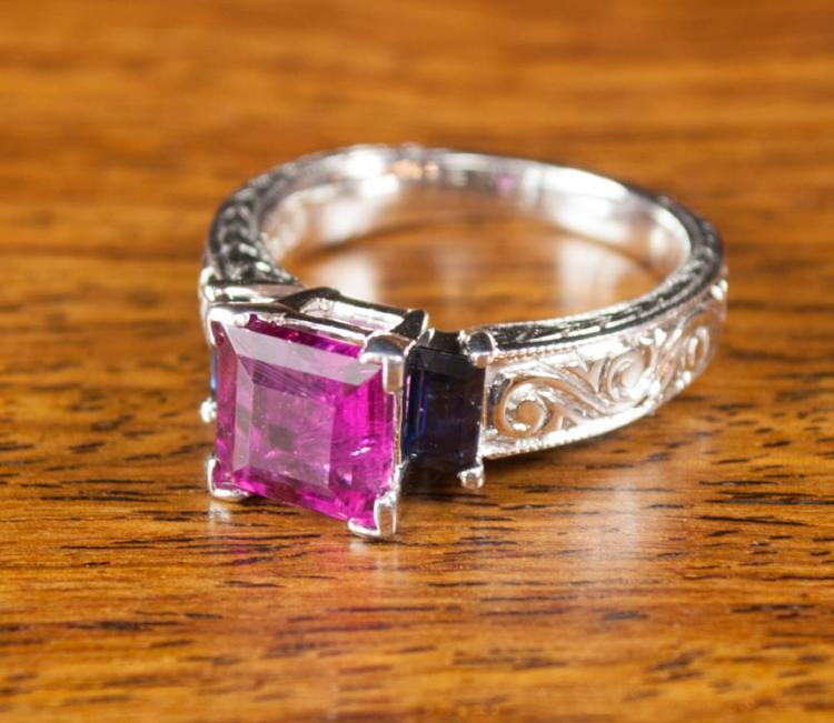 PINK TOURMALINE, SAPPHIRE AND WHITE GOLD RING. Th