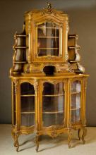 LOUIS XV STYLE CARVED WALNUT CORNER CABINET, Frenc