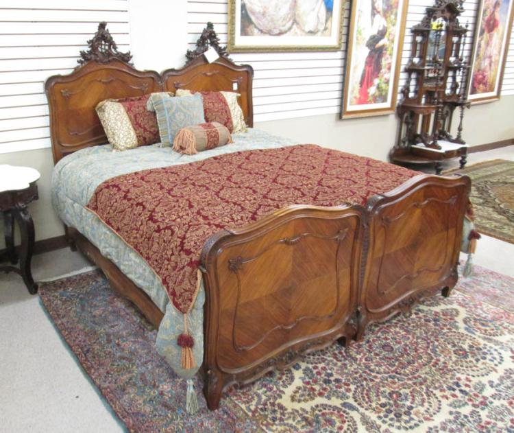 LOUIS XV STYLE KING/TWIN BED WITH ORIGINAL RAILS,