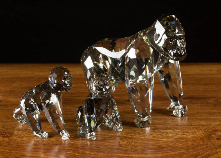 Three swarovski crystal gorilla figurines in by - Gorilla figurines ...