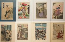 EIGHT WOODCUTS, VARIOUS FIGURES AND GEISHA.  One