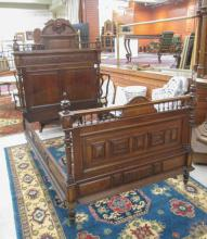 CARVED OAK BED AND DRESSER SET, Continental, 19th