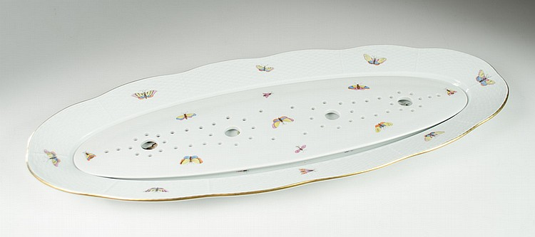 HEREND PORCELAIN FISH PLATTER AND STRAINER, two
