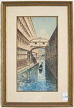 ITALIAN WATERCOLOR, Bridge of Sighs over a canal,