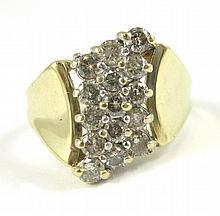 DIAMOND AND TEN KARAT GOLD RING, set with a