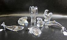 SEVEN BACCARAT CRYSTAL FIGURINES: Dolphin, Whale,