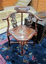CHINESE MING STYLE ARMCHAIR, of solid rosewood