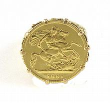 GOLD COIN AND EIGHTEEN KARAT GOLD RING, featuring