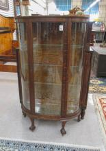 LATE VICTORIAN OAK AND CURVED GLASS CHINA CABINET,