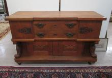 LARGE OAK SIDEBOARD, American, c. 1900, the front