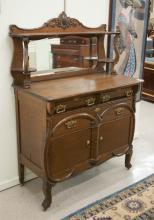 OAK SIDEBOARD, American, c. 1895, a 2-door/3-drawe