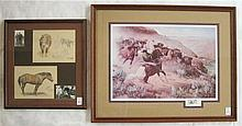 EDWARD B. QUIGLEY, GRAPHITE AND CRAYON SKETCHES AND PRINT (Oregon, 1895-1984) The sketches depict cows and the horse named Zipper, included with the sketches is two photographs of Quigley. The sketches measure 8