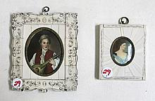 TWO IVORY FRAMED PORTRAIT MINIATURES, the first  of a woman in profile, 3.5 x 4