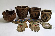 FIVE NATIVE AMERICAN INDIAN BASKETS AND A PAIR OF BEADED GAUNTLETS: Plateau Indian gauntlets, Northwest Plateau, inland Columbia River basin region; Siletz basket, Oregon; Pima or Papago basket, south-central Arizona; Puget Sound berry basket;