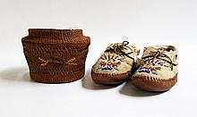 PAIR OF NATIVE AMERICAN BEADED MOCCASINS AND BASKET: modern moccasins are adorned with glass beads and measure 11 inches long; Tsimshian basket, Pacific Northwest Coast (British Columbia and Alaska, around Terrace and Prince Rupert and the