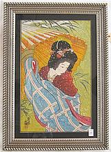 FRAMED JAPANESE WATERCOLOR featuring a Geisha girl in profile holding an umbrella. Opening measures 31.5 x 20 inches. Overall frame measures 42 x 30 inches.