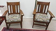 CRAFTSMAN OAK ROCKING CHAIR AND MATCHING ARMCHAIR, American, c. 1915, the backs having three vertical slats over drop-in cushion seats  with floral tapestry covers.