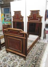 PAIR OF VICTORIAN TWIN BEDS WITH RAILS, Italian, 1