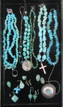 TWENTY-ONE ARTICLES OF TURQUOISE JEWELRY, includin