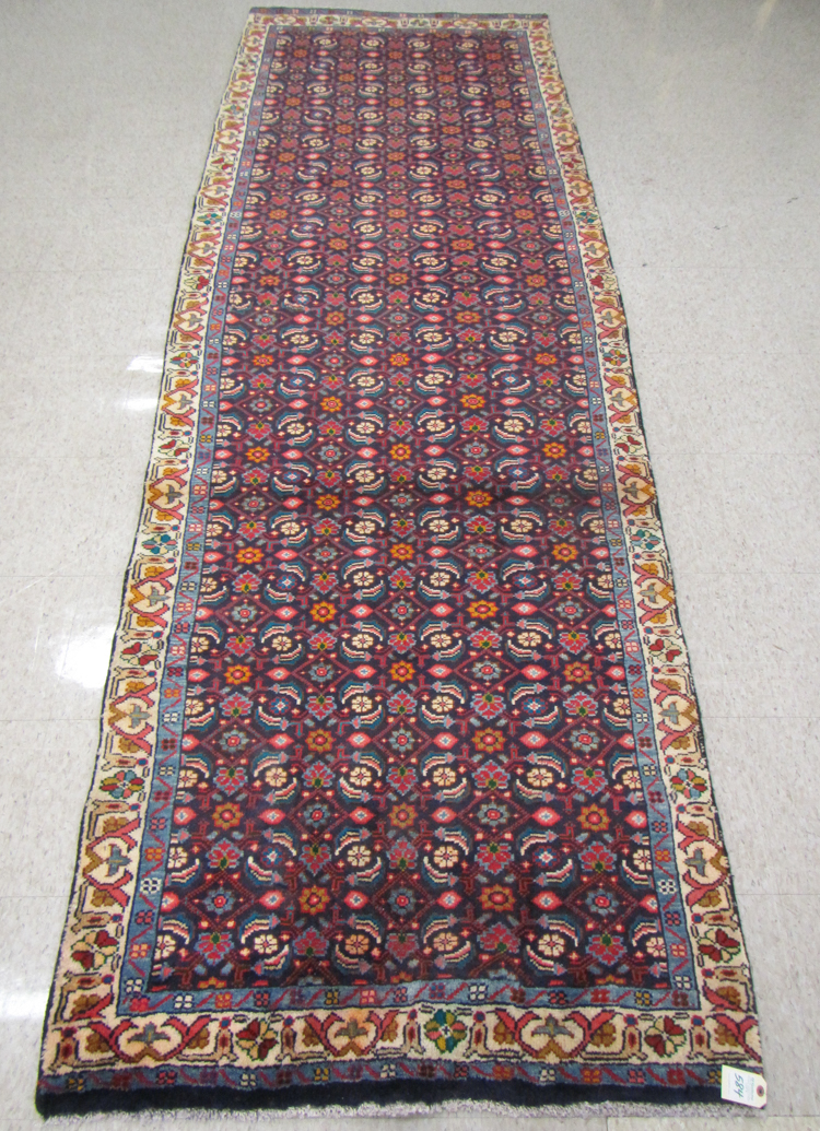 Hand Knotted Persian Hall Rug Overall Herati Flor