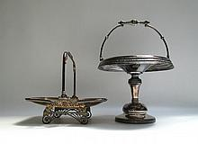 TWO VICTORIAN HOLLOWWARE PIECES: Rogers & Bro. silver plated pedestal bowl, repousse and chased, with hinged bale handle, 15