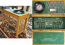 CRAFTSMAN STYLE OAK CASINO GAME TABLE, a rectangular gold oak table with reversible blackjack top, the interior well fitted with roulette and craps dice games.  Dimensions: 36