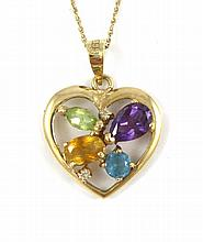MULTI-COLOR GEMSTONE PENDANT NECKLACE, suspended on a 14k yellow gold chain, the 14k yellow gold heart shaped pendant set with two round-cut diamonds, one pear-cut amethyst, one marquise-cut peridot, one oval-cut citrine and one round-cut blue topaz.
