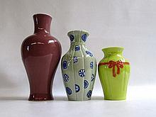 THREE CHINESE REPUBLIC VASES having various glaze treatments and heights measuring from 8.5  to 14 inches.