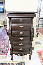 LOUIS XV STYLE DARK MAHOGANY JEWELRY CHEST, a six-drawer chest with lift top.  Dimensions: 40.5