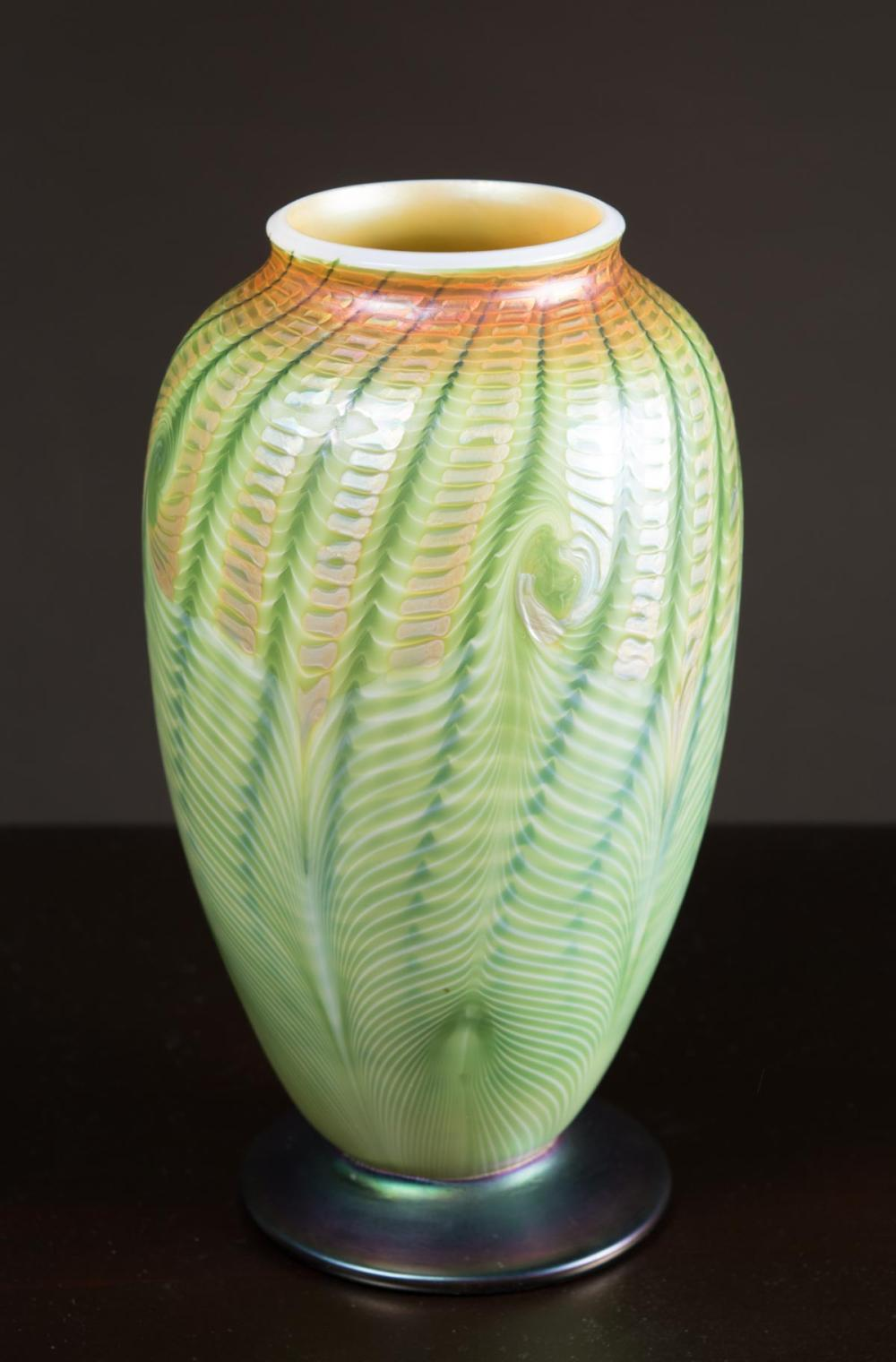 L.C. TIFFANY FAVRILE ART GLASS FOOTED VASE, 1916,