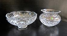 WATERFORD CUT CRYSTAL FOOTED BOWL AND VASE, two  pieces, the bowl, 10