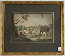 JAN JACOB TEYLER VAN HALL WATERCOLOR ON PAPER (Dutch, 1794-1851) Pastoral landscape with cattle and sheep in the foreground and building in the background. Image measures 12