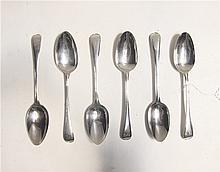 SET OF SIX GEORGE III STERLING SILVER TABLESPOONS, hallmarked British sterling, London, 1786, maker's George Smith III and Wm. Fearn.  Length 8.5 inches.  Total weight 12.4  troy ozs.