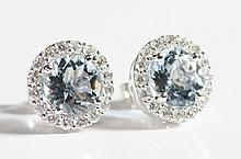 PAIR OF AQUAMARINE AND DIAMOND EARRINGS, each 14k white gold with round-cut diamonds set around a round-cut aquamarine. Estimated weight  for both aquamarines: 3.06 cttw.; estimated weight for all diamonds: 0.84 cttw.