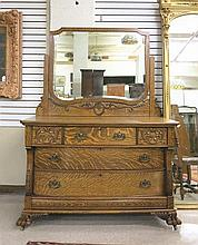 CARVED OAK DRESSER WITH ATTACHED TILT MIRROR, The
