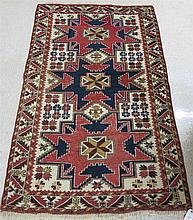 HAND KNOTTED TRIBAL RUG, Caucasian Kazak design,
